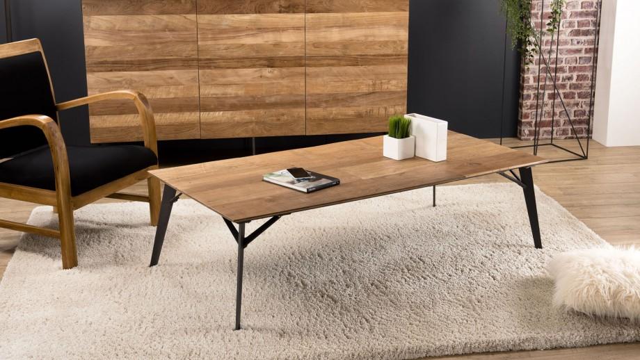 Table basse rectangulaire 140x70cm en teck recyclé piètement en métal noir - Collection Maxence