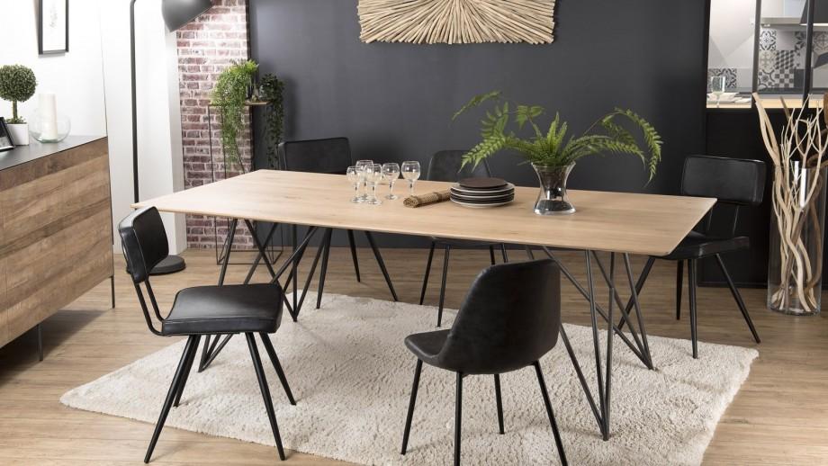 Table à manger 220x100cm en chêne piètement croisé en métal - Collection Maxence