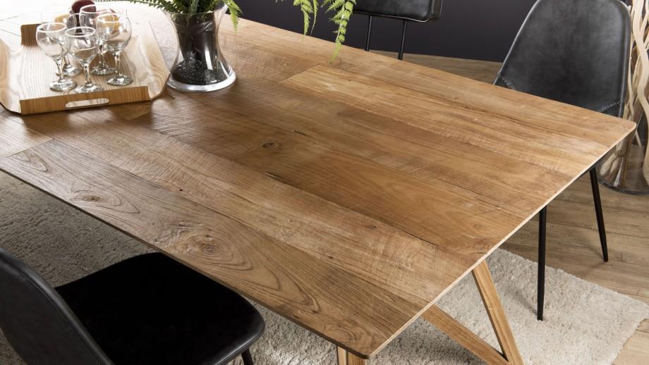 Table à manger 220x100cm en chêne piètement croisé en teck - Collection Maxence