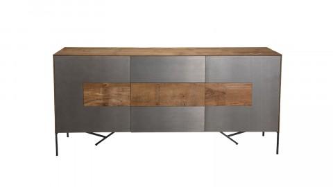 Buffet 2 portes 3 tiroirs en teck recyclé façade et piètement en métal - Edouard