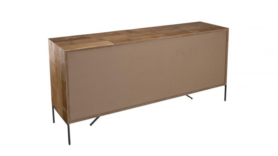 Buffet 2 portes 3 tiroirs en teck recyclé façade et piètement en métal - Collection Maxence
