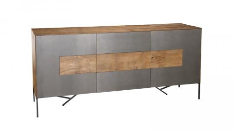 Buffet 2 portes 3 tiroirs en teck recyclé façade et piètement en métal - Collection Edouard