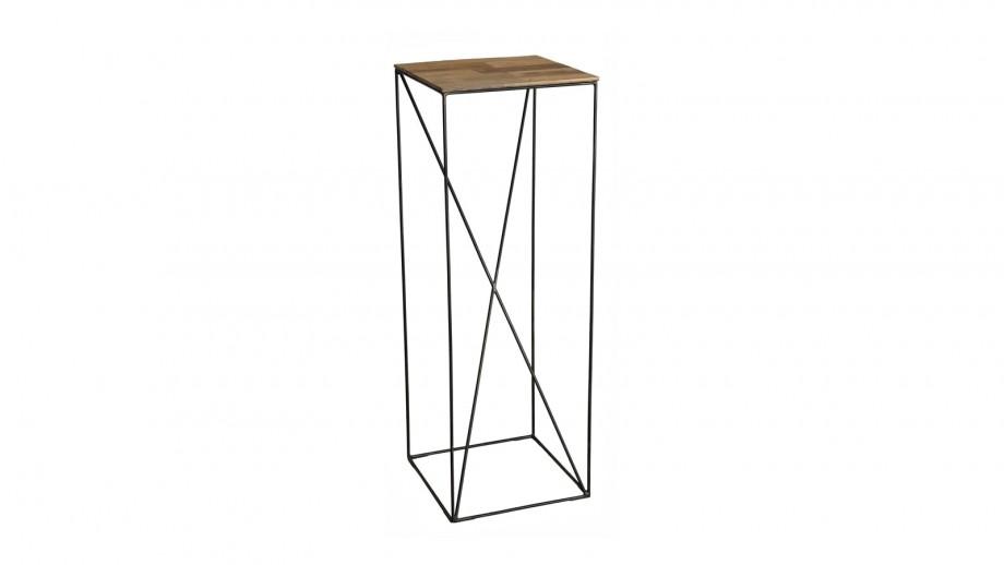 Table d'appoint L en teck recyclé et métal - Collection Maxence