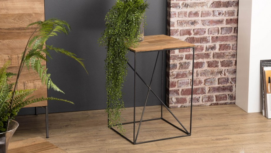 Table d'appoint S en teck recyclé et métal - Collection Maxence