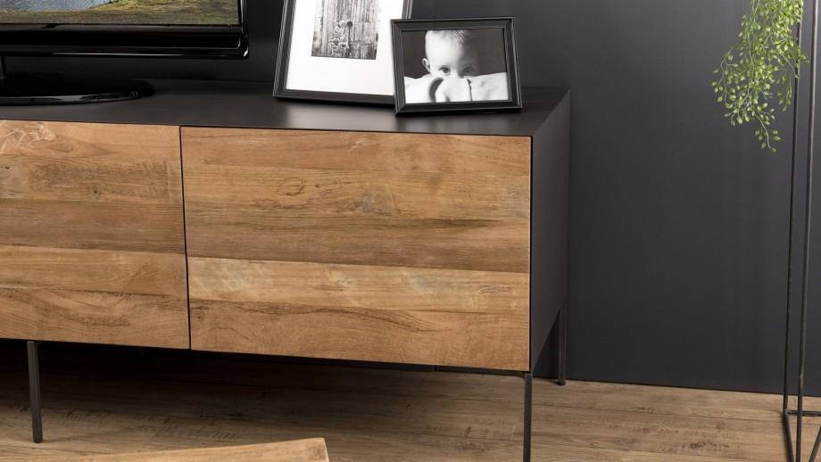 Meuble TV 2 portes 2 tiroir en teck recyclé et métal - Collection Maxence