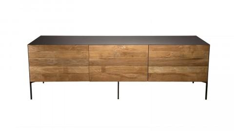 Meuble TV 2 portes 2 tiroir en teck recyclé et métal - Edouard