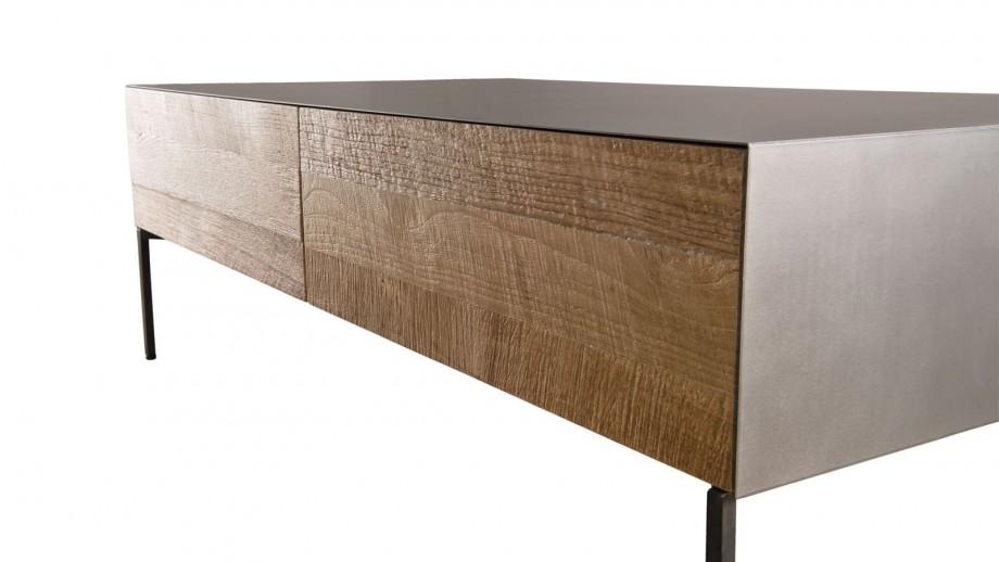 Table basse 111x60cm 2 tiroirs en teck recyclé et métal - Collection Maxence