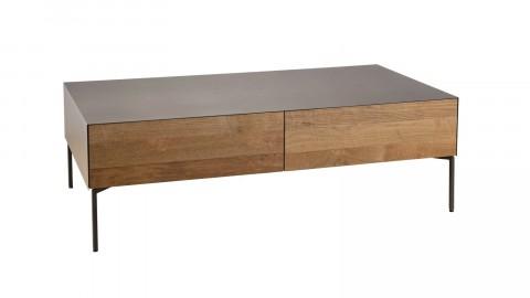 Table basse 111x60cm 2 tiroirs en teck recyclé et métal - Collection Edouard