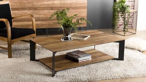 Table basse 120x70 en teck recyclé piètement en métal - Collection Maxence
