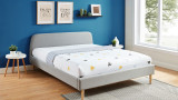 Lit adulte scandinave 160x200 gris clair - Collection Gaby