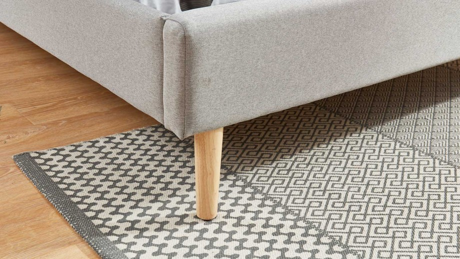 Lit adulte scandinave 140x190 gris clair - Collection Gaby