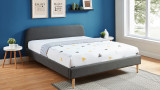 Lit adulte scandinave 140x190 gris foncé - Collection Gaby