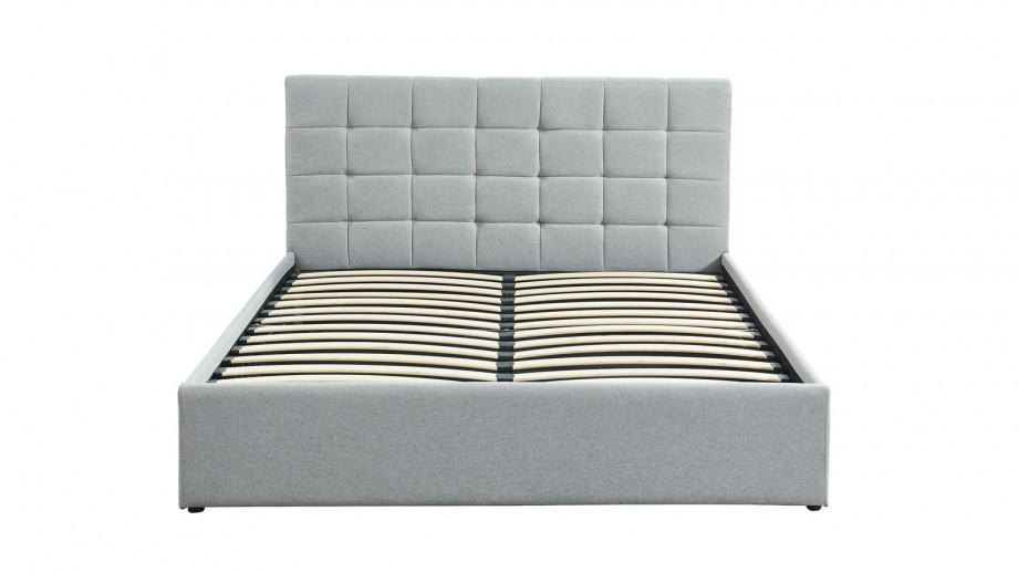 Lit coffre 160x200 gris clair + sommier à lattes relevable - Collection Tommy