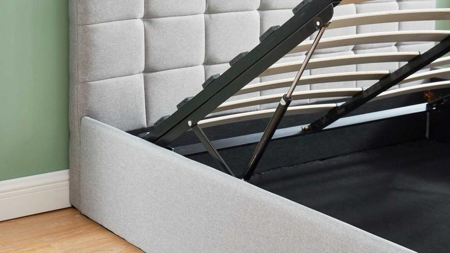 Lit coffre 140x190 gris clair + sommier à lattes relevable - Collection Tommy