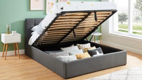 Lit coffre 160x200 gris foncé avec tête de lit + sommier à lattes relevable - Collection Tommy