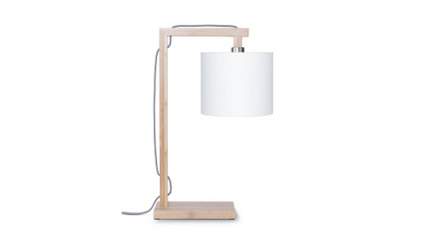 Lampe de table en bambou abat jour en lin blanc - Collection Himalaya - Good&Mojo