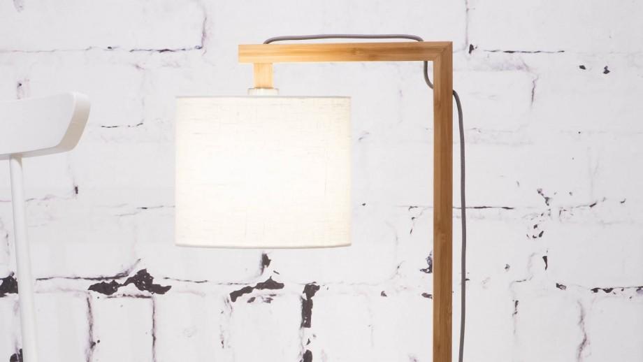 Lampe de table en bambou abat jour en lin blanc - Collection Himalaya - Good&Mojo