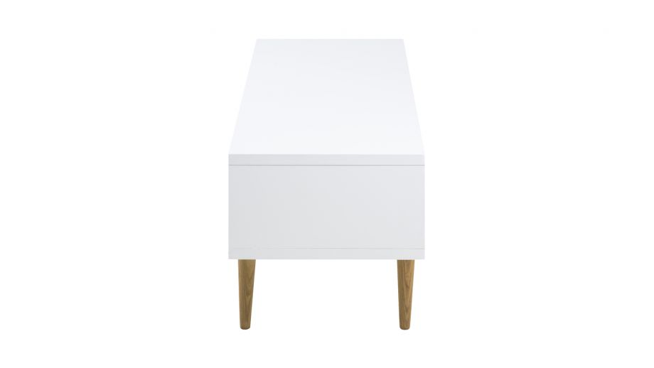 Meuble TV 2 portes en plaqué chêne blanc – Collection Elise