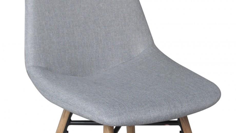 Oløf - Lot de 2 Chaises Scandinave, Tissu gris clair et pieds en chêne