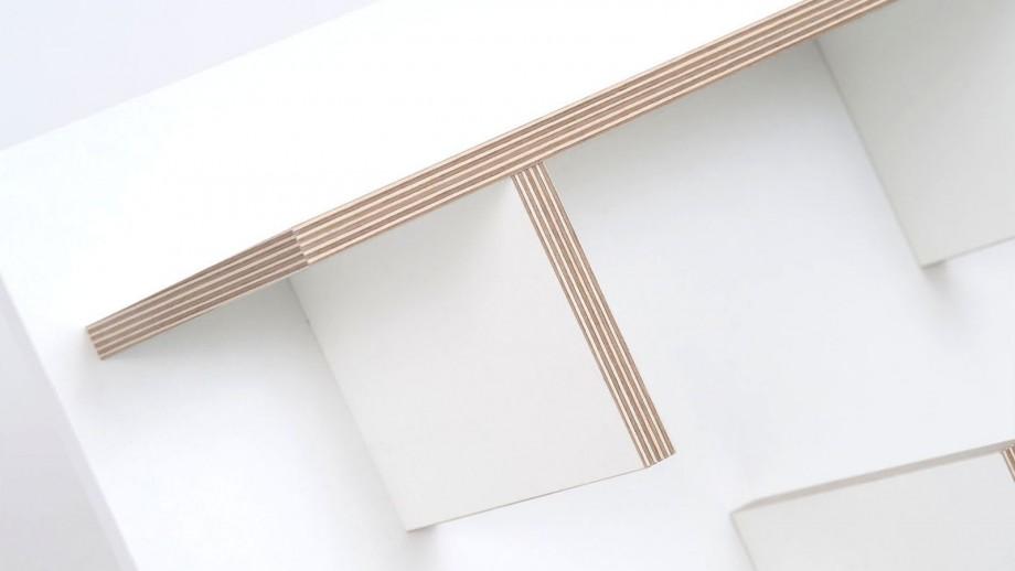 Etagère murale 90cm en contreplaqué naturel et blanc - Collection Bern - Temahome