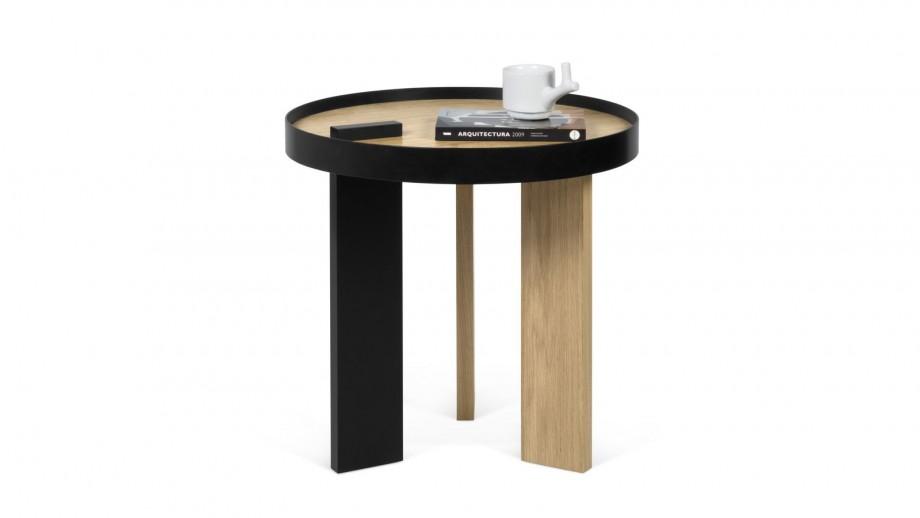 Petite table d'appoint ronde en bois et métal - Collection Bruno - Temahome