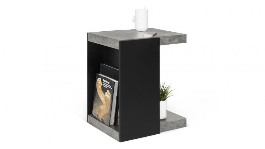 Table d'appoint en béton et métal noir - Collection Klaus - Temahome