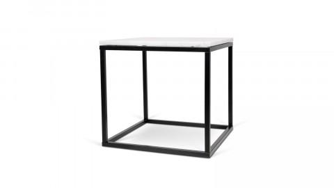 Table basse carrée en marbre blanc piètement en métal noir - Collection Prairie - Temahome
