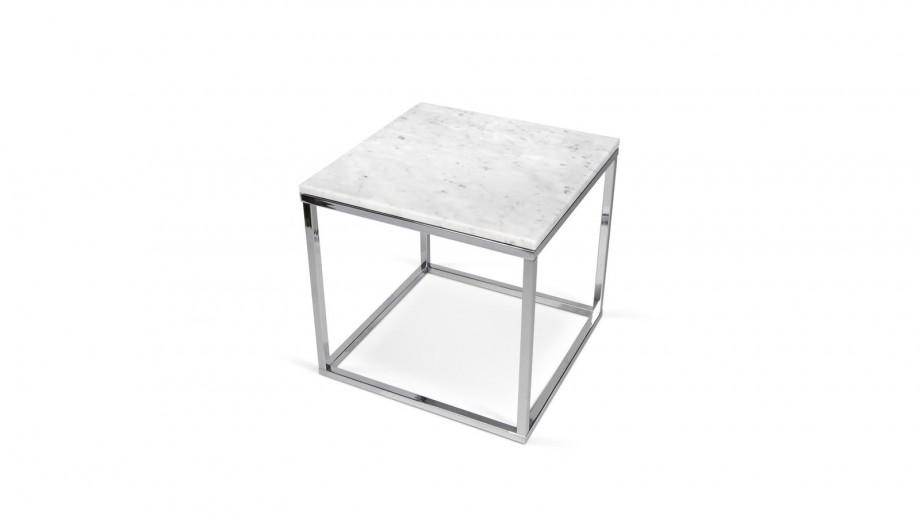 Table basse carrée en marbre blanc piètement chromé - Collection Prairie - Temahome