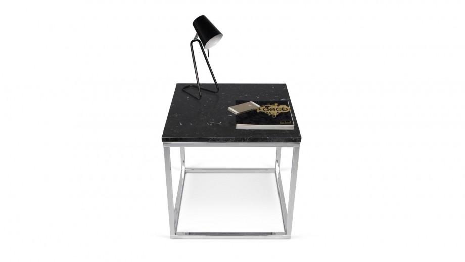 Table basse carrée en marbre vert piètement en métal noir - Collection Prairie - Temahome