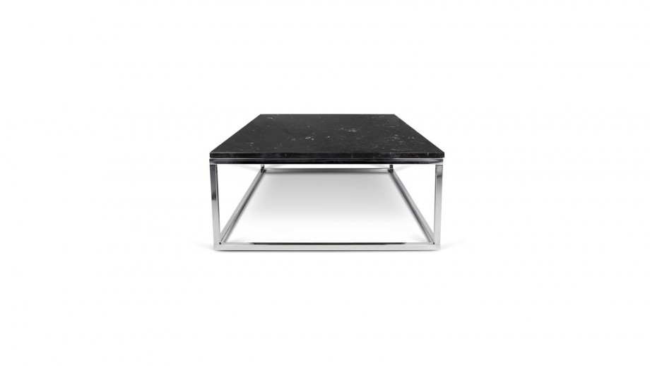 Table basse rectangle en marbre noir piètement chromé - Collection Prairie - Temahome