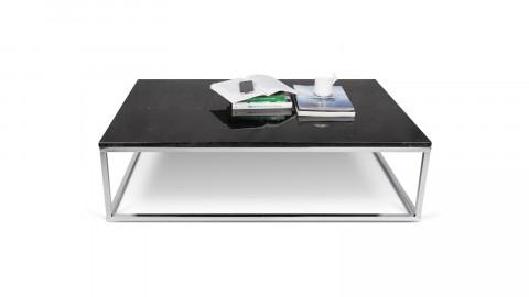Table basse rectangle en marbre noir piètement chromé - Collection Prairie - Temahome