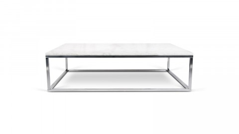 Table basse rectangle en marbre blanc piètement chromé - Collection Prairie - Temahome