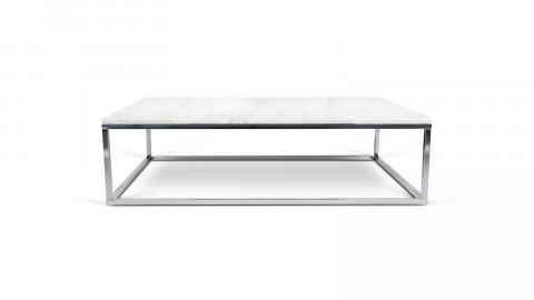 Table basse rectangle en marbre blanc piètement chromé - Collection Prairie - Temahome
