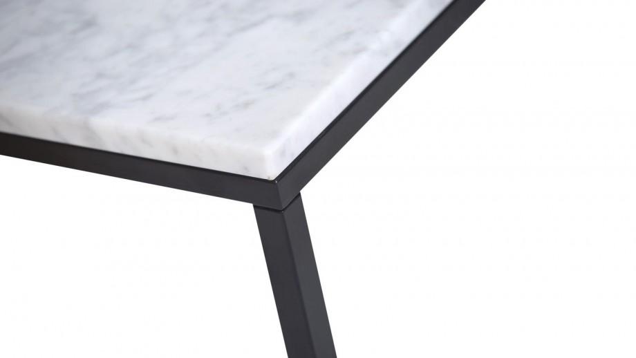 Table basse rectangle en marbre blanc piètement en métal noir - Collection Prairie - Temahome
