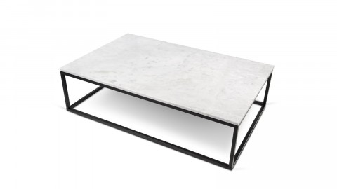 Table basse rectangle en marbre blanc piètement en métal noir - Collection Prairie - Temahome