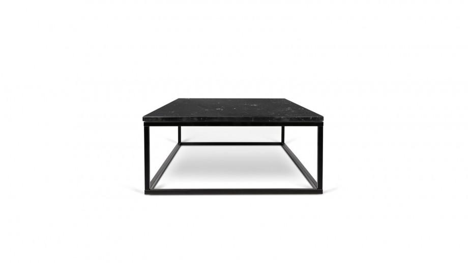 Table basse rectangle en marbre noir piètement en métal noir - Collection Prairie - Temahome