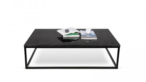 Table basse rectangle en marbre noir piètement en métal noir - Collection Prairie - Temahome