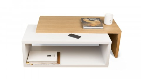 Table basse modulable en contreplaqué clair et blanc - Collection Jazz - Temahome