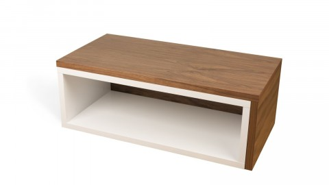 Table basse modulable en contreplaqué noisette et blanc - Collection Jazz - Temahome