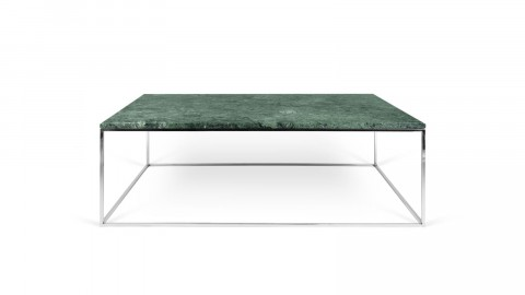 Table basse 120cm en marbre vert piètement chromé - Collection Gleam - Temahome
