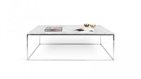 Table basse 120cm en marbre blanc piètement chromé - Collection Gleam - Temahome