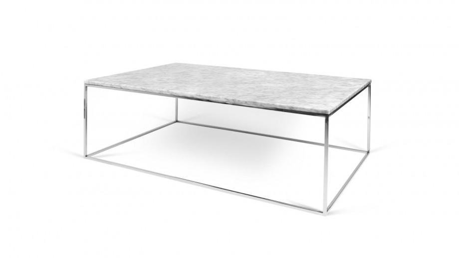 Table basse 120cm en marbre blanc piètement chromé - Collection Gleam - Temahome