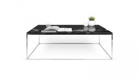 Table basse 120cm en marbre noir piètement chromé - Collection Gleam - Temahome