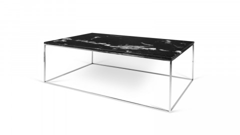 Table basse 120cm en marbre noir piètement chromé - Collection Gleam - Temahome
