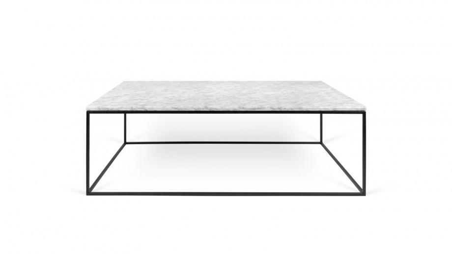 Table basse 120cm en marbre blanc piètement en métal noir - Collection Gleam - Temahome