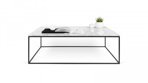 Table basse 120cm en marbre blanc piètement en métal noir - Collection Gleam - Temahome