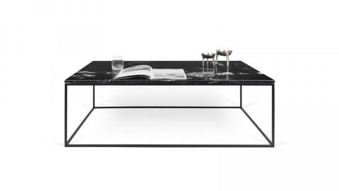 Table basse 120cm en marbre noir piètement en métal noir - Collection Gleam - Temahome