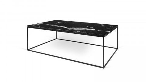 Table basse 120cm en marbre noir piètement en métal noir - Collection Gleam - Temahome