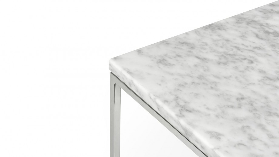 Table basse 50cm en marbre blanc piètement chromé - Collection Gleam - Temahome