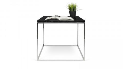 Table basse 50cm en marbre noir piètement chromé - Collection Gleam - Temahome